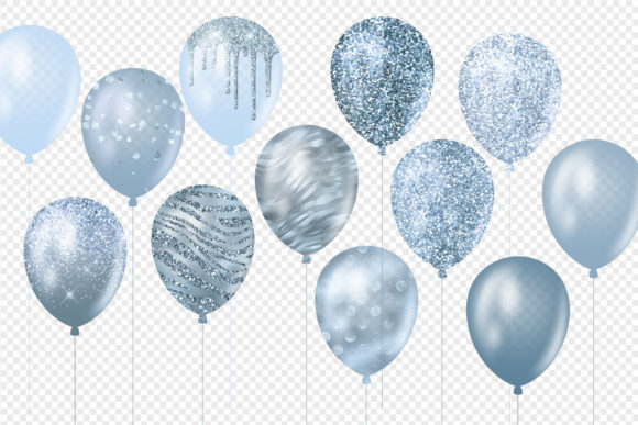 Blue Glitter Balloons Clipart Graphic Illustrations By Digital Curio - Image 3