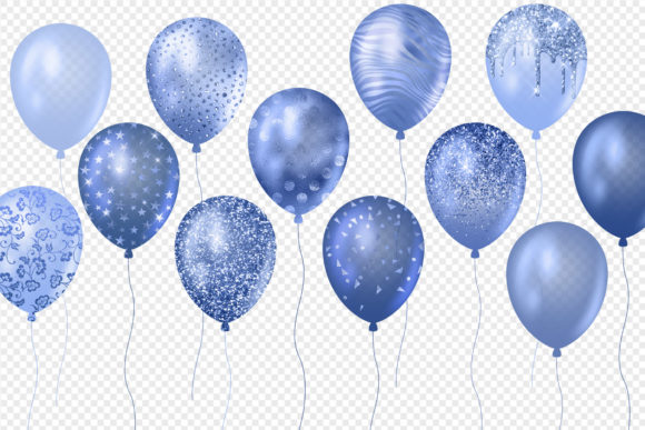 Blue Glitter Balloons Clipart Graphic Illustrations By Digital Curio - Image 5
