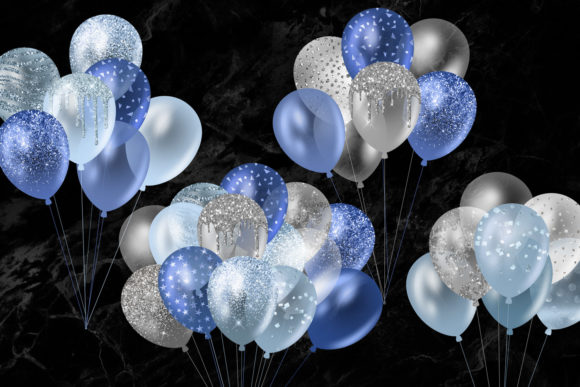 Blue Glitter Balloons Clipart Graphic Illustrations By Digital Curio - Image 6