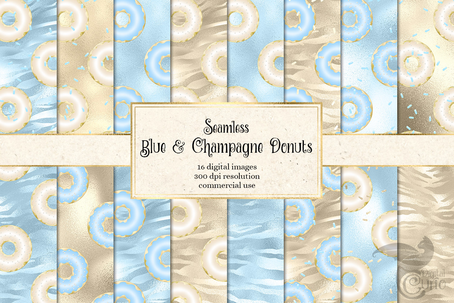 Blue And Champagne Donut Digital Paper Graphic By Digital Curio
