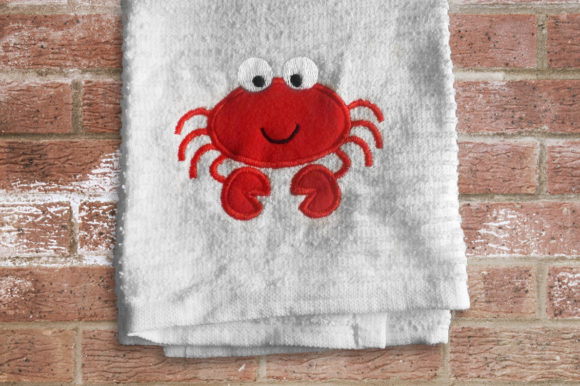 Cute Cartoon Crab Applique Fish & Shells Embroidery Design By DesignedByGeeks