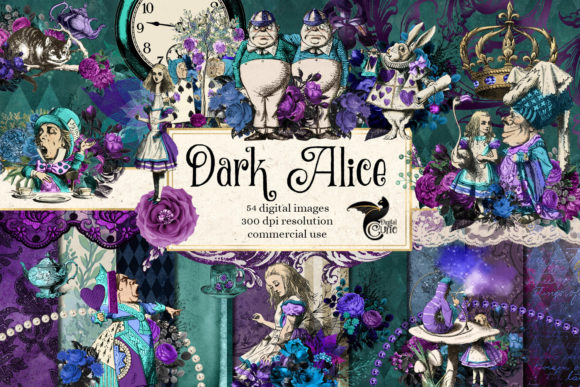 Dark Alice Digital Scrapbook Kit Graphic Illustrations By Digital Curio