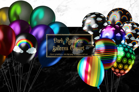 Download Free Dark Rainbow Balloons Clipart Graphic By Digital Curio for Cricut Explore, Silhouette and other cutting machines.