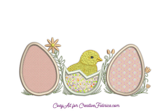 Easter Chick Three Applique Eggs Easter Embroidery Design By CozyAit