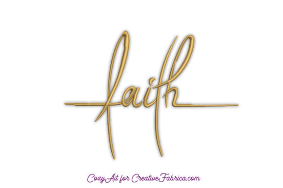 Faith Handwritten Lettering Religion & Faith Embroidery Design By CozyAit