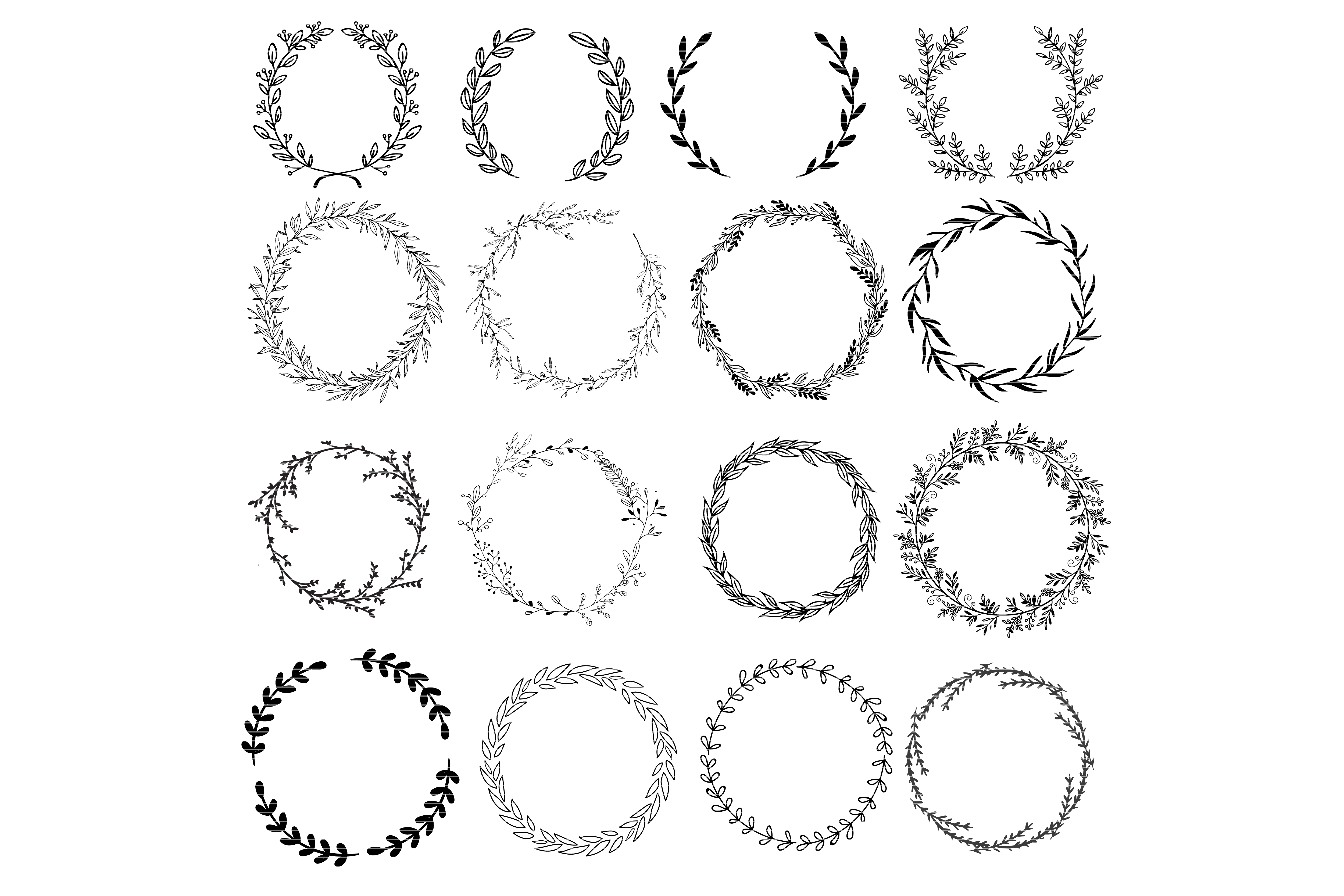 Download Free Floral Wreath Clip Art Bundle Graphic By Meshaarts Creative SVG Cut Files