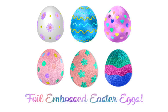 Print on Demand: Foil Easter Egg Clipart or Stickers Graphic Print Templates By AM Digital Designs
