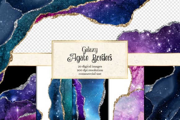 Galaxy Agate Borders Graphic Textures By Digital Curio