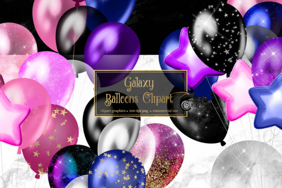 Print on Demand: Galaxy Balloons Clipart Graphic Illustrations By Digital Curio