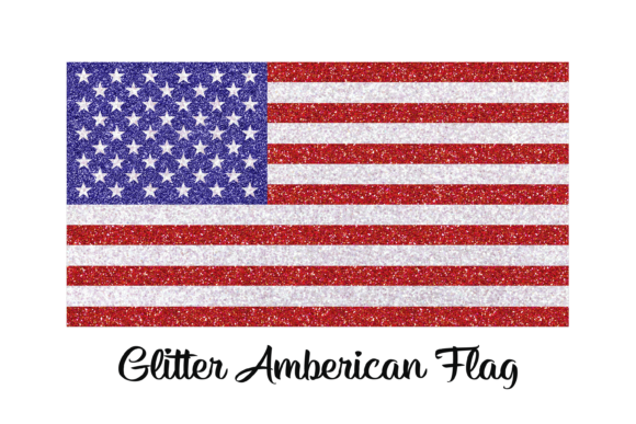 Print on Demand: Glitter American Flag Independence Day Graphic Print Templates By AM Digital Designs