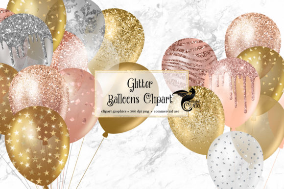 Print on Demand: Glitter Balloons Clipart Graphic Illustrations By Digital Curio