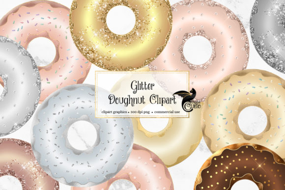 Print on Demand: Glitter Donuts Clipart Graphic Illustrations By Digital Curio