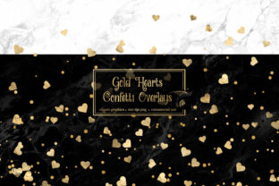 Print on Demand: Gold Hearts Confetti Overlays Graphic Objects By Digital Curio