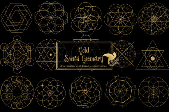 Print on Demand: Gold Sacred Geometry Clipart Graphic Objects By Digital Curio