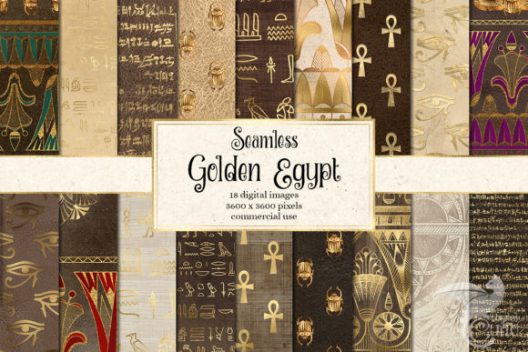 Print on Demand: Golden Egypt Digital Paper Graphic Patterns By Digital Curio