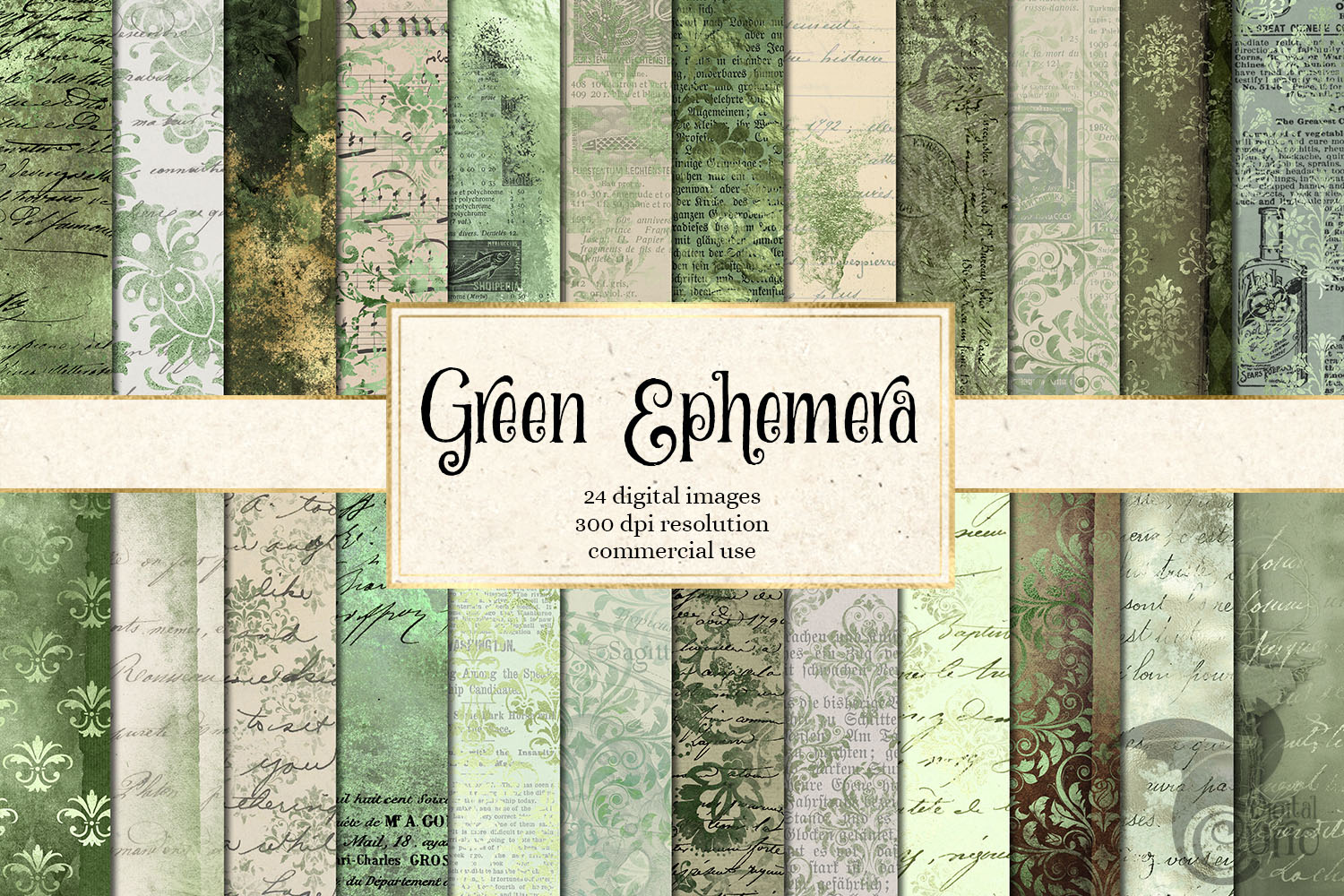 Download Free Green Ephemera Digital Paper Graphic By Digital Curio Creative for Cricut Explore, Silhouette and other cutting machines.