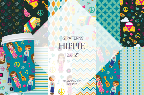 Print on Demand: Hippie Grafik Muster von Prettygrafik