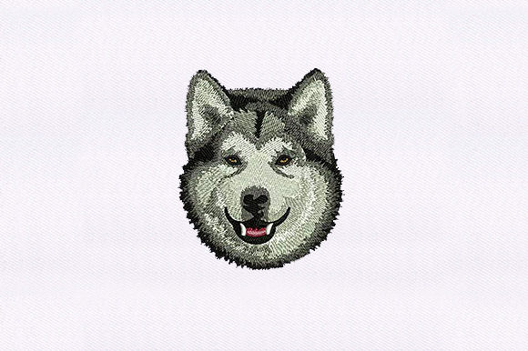 Husky Face Dogs Embroidery Design By DigitEMB