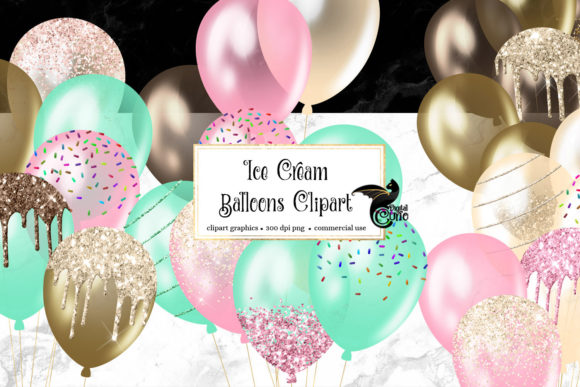 Download Free Ice Cream Balloons Clipart Graphic By Digital Curio Creative for Cricut Explore, Silhouette and other cutting machines.