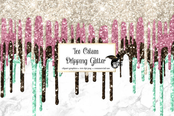 Print on Demand: Ice Cream Dripping Glitter Overlays Graphic Textures By Digital Curio