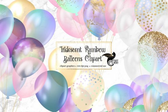 Iridescent Rainbow Balloons Clipart Graphic Illustrations By Digital Curio - Image 1