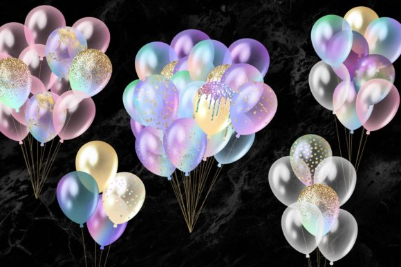 Iridescent Rainbow Balloons Clipart Graphic Illustrations By Digital Curio - Image 2