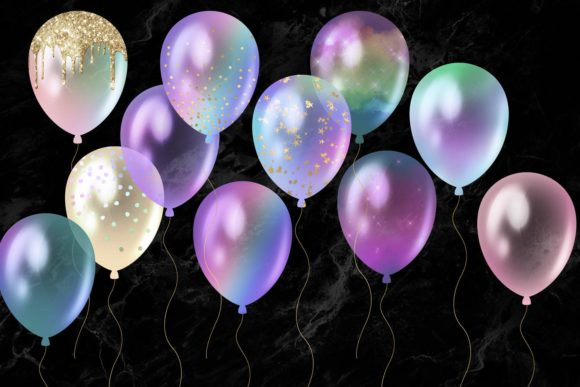 Iridescent Rainbow Balloons Clipart Graphic Illustrations By Digital Curio - Image 3