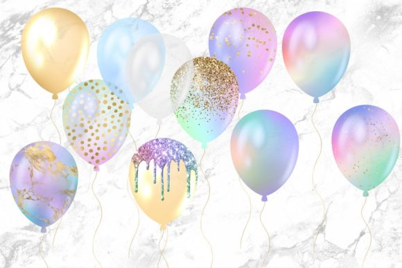 Iridescent Rainbow Balloons Clipart Graphic Illustrations By Digital Curio - Image 4