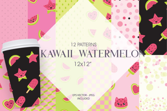 Print on Demand: Kawaii Watermelon Graphic Patterns By Prettygrafik