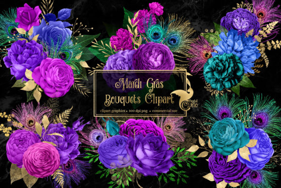 Print on Demand: Mardi Gras Bouquets Clipart Graphic Illustrations By Digital Curio