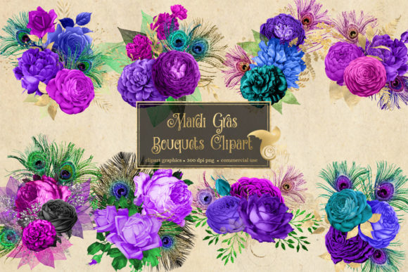 Print on Demand: Mardi Gras Bouquets Clipart Graphic Illustrations By Digital Curio - Image 2