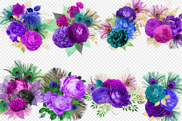 Print on Demand: Mardi Gras Bouquets Clipart Graphic Illustrations By Digital Curio - Image 3