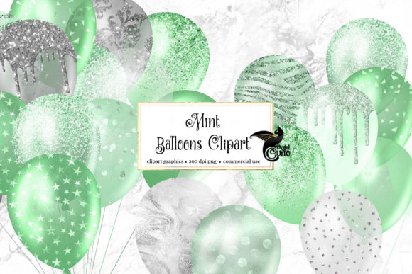 Print on Demand: Mint Glitter Balloons Clipart Graphic Illustrations By Digital Curio