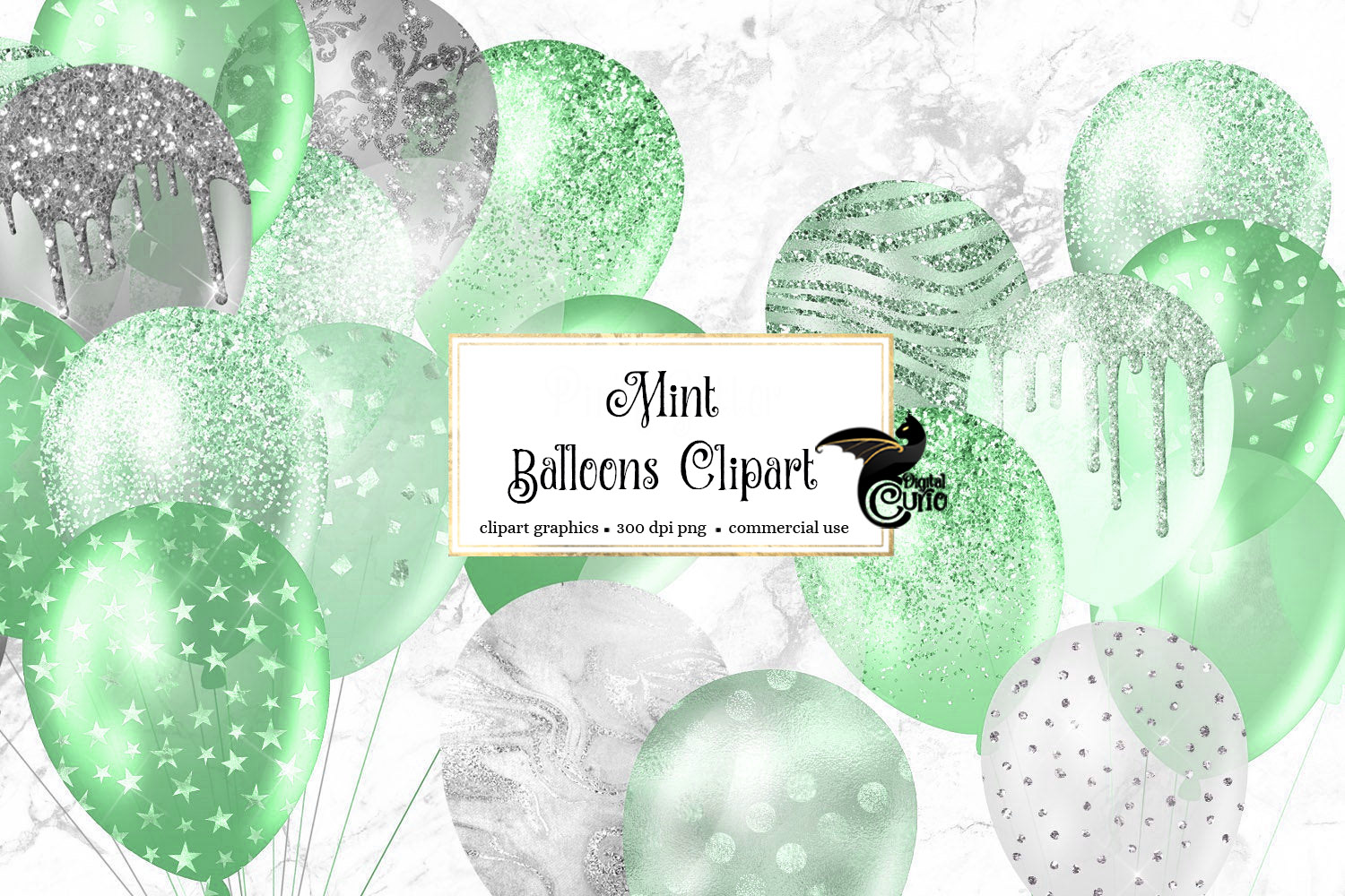 Download Free Mint Glitter Balloons Clipart Graphic By Digital Curio for Cricut Explore, Silhouette and other cutting machines.