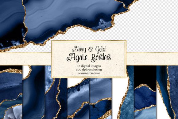 Print on Demand: Navy and Gold Agate Borders Graphic Textures By Digital Curio