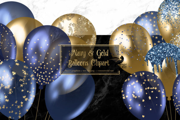 Print on Demand: Navy and Gold Balloons Clipart Graphic Illustrations By Digital Curio
