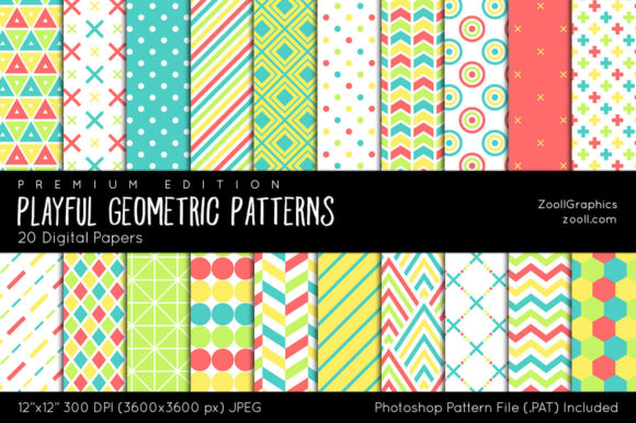Playful Geometric Digital Papers Graphic Patterns By ZoollGraphics