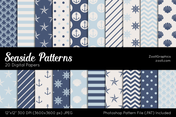 Seaside Digital Papers Graphic Patterns By ZoollGraphics