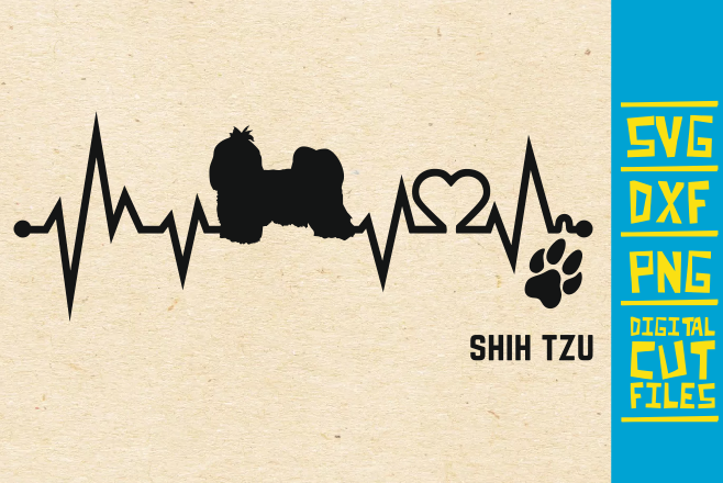 Download Free Shih Tzu Dog Ekg Graphic By Svgyeahyouknowme Creative Fabrica for Cricut Explore, Silhouette and other cutting machines.