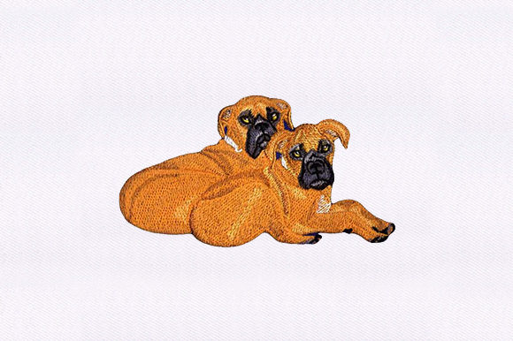 Sitting Boxers Dogs Embroidery Design By DigitEMB