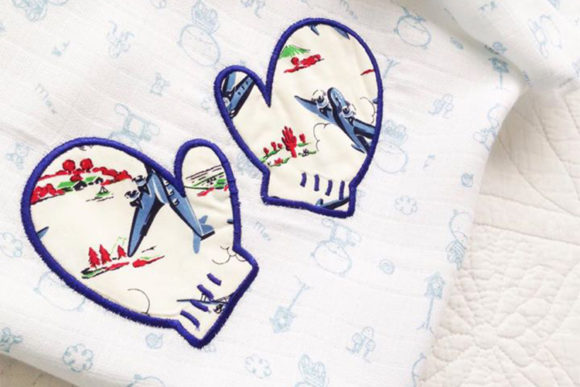 Snow Mittens Applique Winter Embroidery Design By DesignedByGeeks