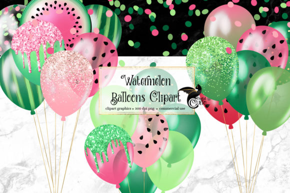 Print on Demand: Watermelon Balloons Clipart Graphic Illustrations By Digital Curio