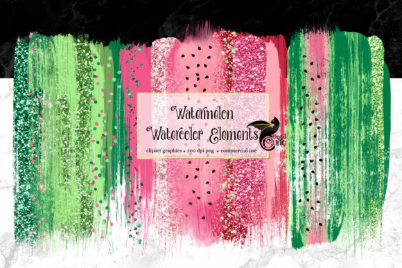 Print on Demand: Watermelon Watercolor Elements Clipart Graphic Illustrations By Digital Curio - Image 1