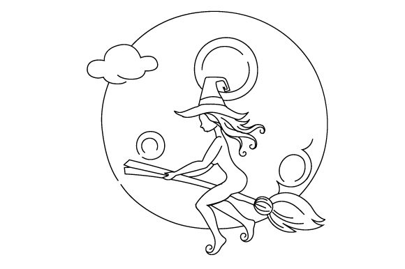 Download Free Witch Flying Over Moon Svg Cut File By Creative Fabrica Crafts for Cricut Explore, Silhouette and other cutting machines.