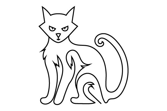 Download Free Creepy Cat Line Art Style Svg Cut File By Creative Fabrica for Cricut Explore, Silhouette and other cutting machines.