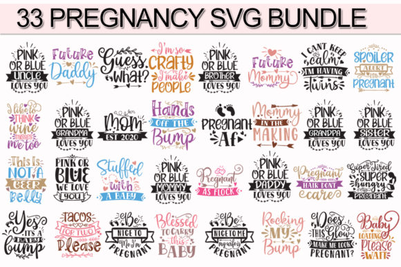 Print on Demand: 33 Pregnancy Bundle Graphic Print Templates By Designdealy.com