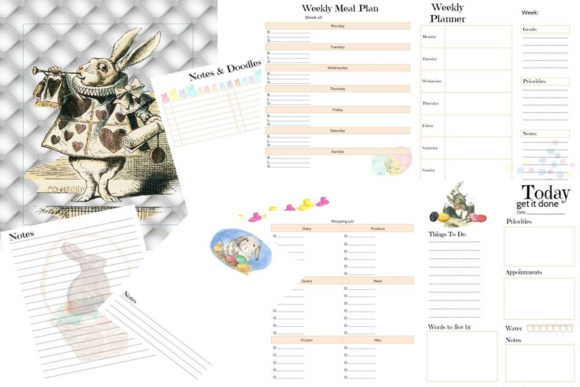 A Rabbits Tale Printable Journal Planner Graphic Print Templates By AHDesign
