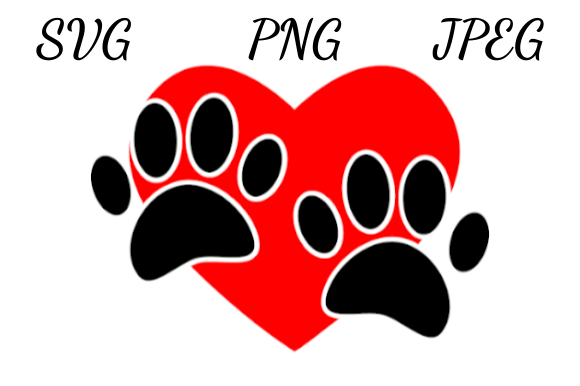 Download Free Black Dog Paws And Red Heart Drawing Graphic By Almdrs for Cricut Explore, Silhouette and other cutting machines.