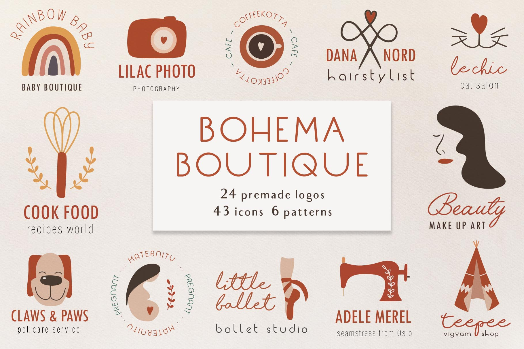Download Free Bohema Boutique Logos Graphic By Alisovna Creative Fabrica for Cricut Explore, Silhouette and other cutting machines.