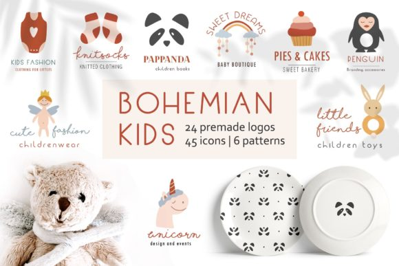 Download Free Bohemian Kids Logos Graphic By Alisovna Creative Fabrica for Cricut Explore, Silhouette and other cutting machines.